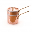 MAUVIEL 6504 - M'tradition Collection - Copper Bain Marie (water bath)  tin inside with porcelain insert, bronze handles